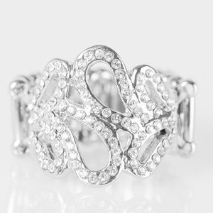 Dress It Up White Rhinestone Ring
